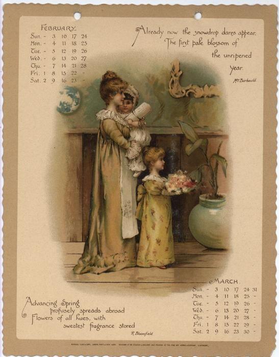 As Months Go By Calendar For 1895 Vintage Calendar Print