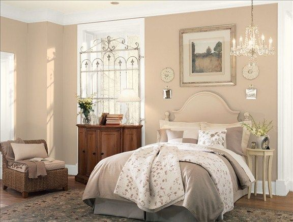 Color Samples For Bedrooms soft feminine bedroom - wall color: truffle - ceiling color: linen