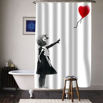 Banksy Girl Shower Curtain With Images Custom Shower Curtains