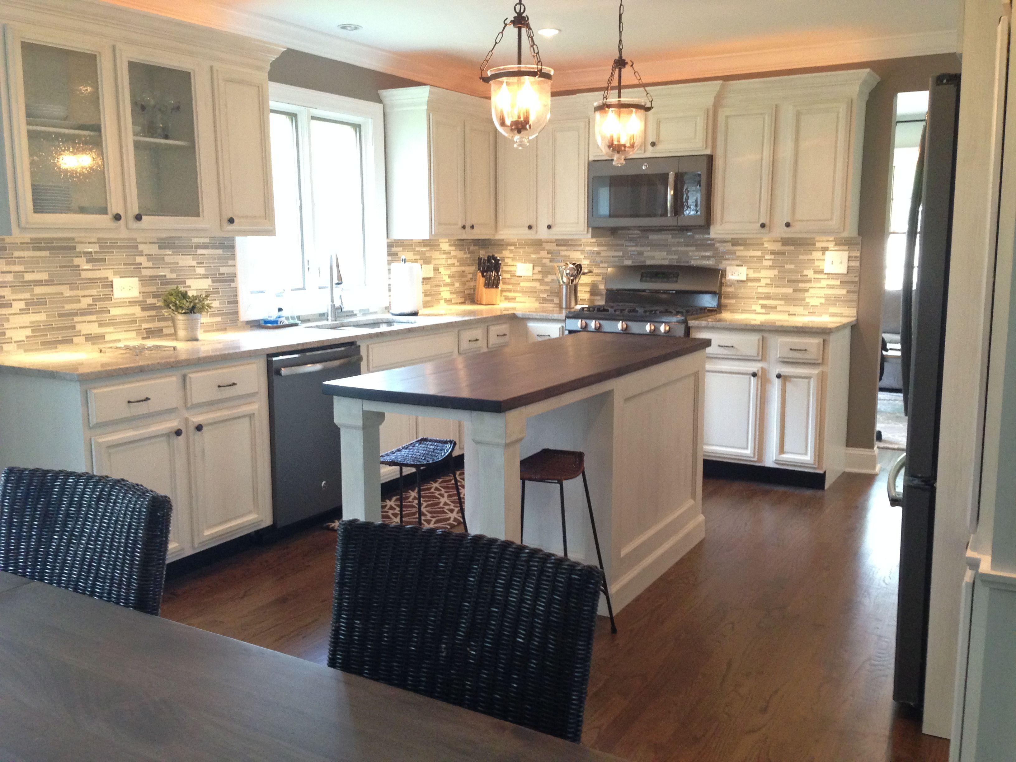 Kitchen remodel, butcher block island, tile backsplash ...