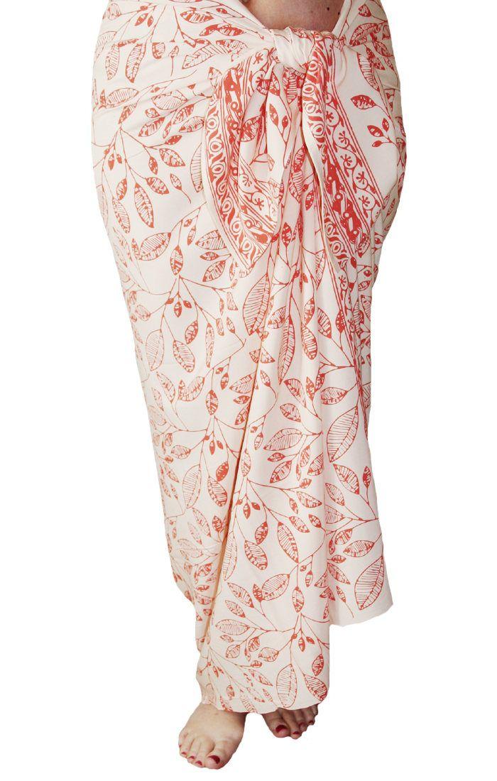 fd2b00f455a44 Beach Sarong Skirt Batik Pareo Women's Clothing Beach Wrap Skirt Hawaiian  Maile Leaves Batik Pareo Creamy White & Coral Beach Wedding Sarong by  PuaWear on ...