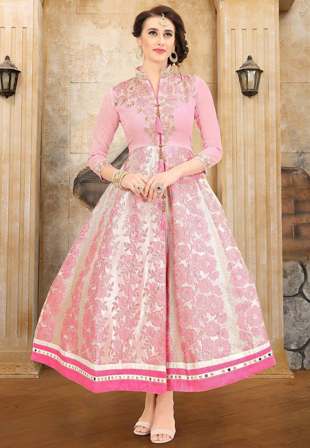 Buy Embroidered Brocade Anarkali Kurta in Baby Pink online, Item code:  TAV3, Color: Pink, Occasion: Festive,… | Kurti designs, Long kurti designs,  Party wear kurtis