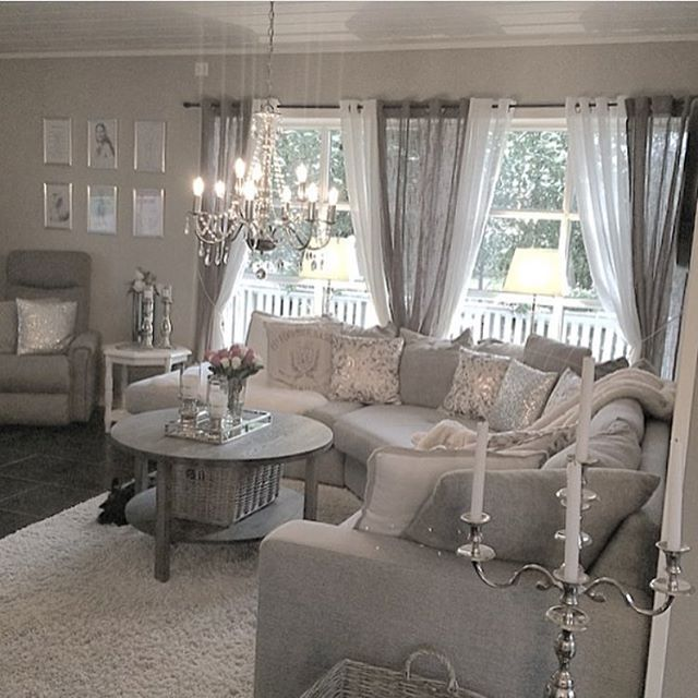 Sheer Curtain Spanning Dining Room And French Doors Chic Living