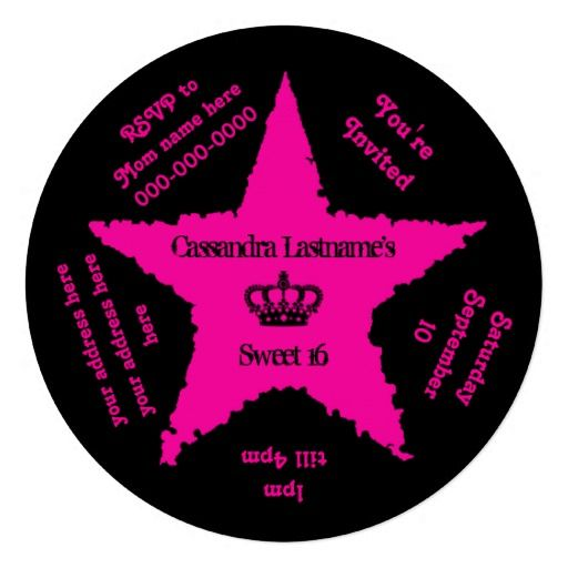 Cute round hot pink and black sweet 16 star personalized announcement