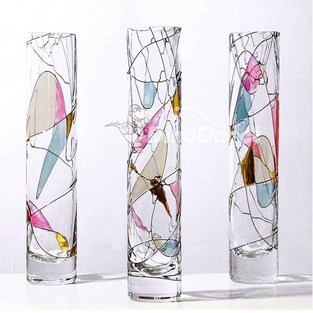 Color Painting Cylinder Glass Flower Vase Paintings Glass And
