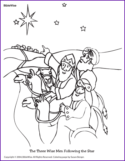 Coloring The Three Wise Men Following The Star Kids Korner