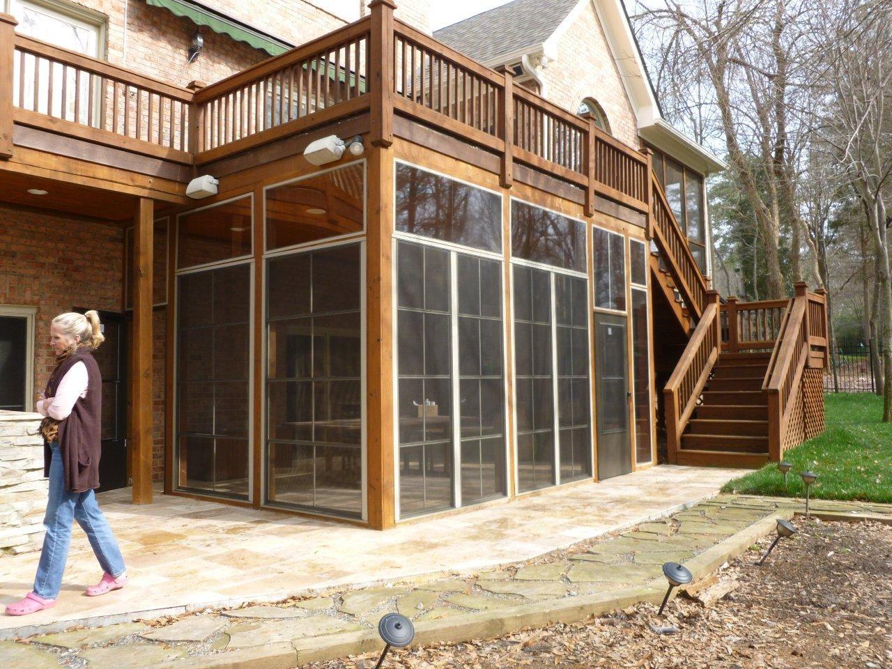 Innovative Myers Park Screened Porch Travertine patio