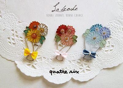 愛をこめて…花束のブローチ ●素材に: プラバン、ブローチピン、UVレジン、ビーズ、リボンなど