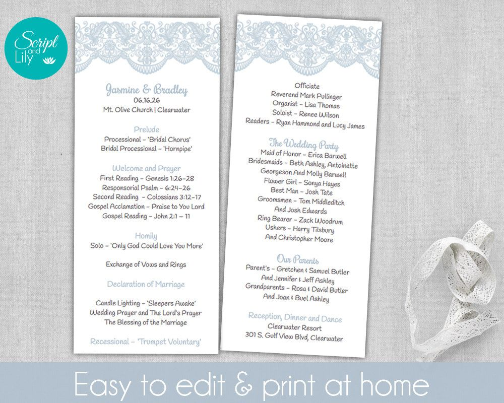 lace wedding program template double sided free color change editable