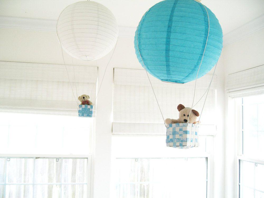2 Hot Air Balloon Mobile Hot Air Balloon Blue Boys Room Decor Ceiling Han Hot Air Balloon Decorations Hot Air Balloon Nursery Decor Hot Air Balloon Nursery