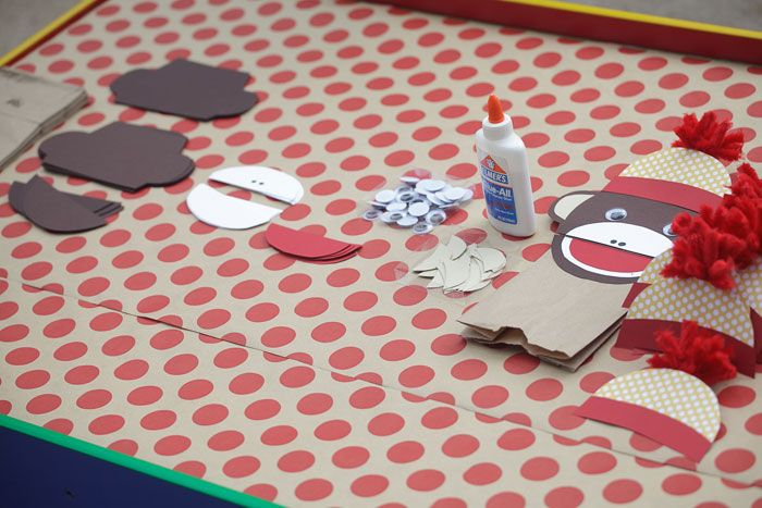 vintage sock monkey party: TOO CUTE craft--DIY sock monkey paper bag puppets!