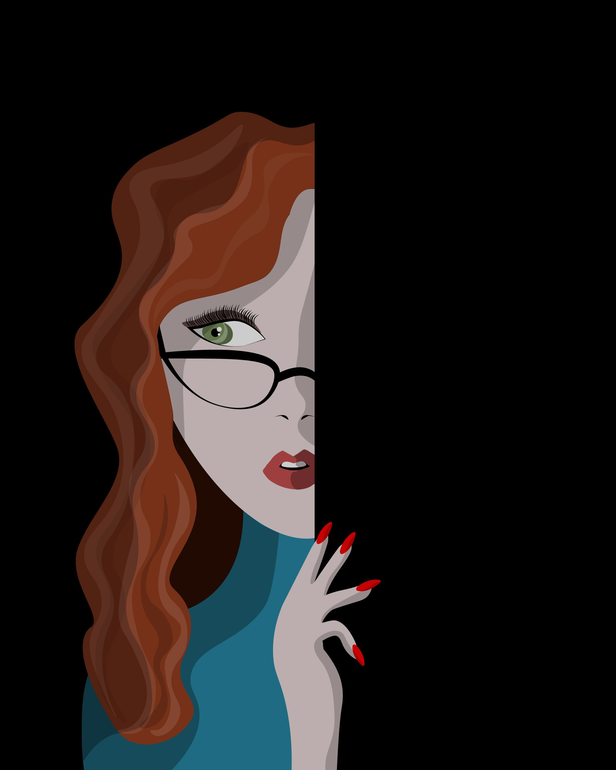 Vector Illustration Redhead Girl Glasses Looking Red Nails Green Eyes Mistery Illustration Redhead Girl Redhead