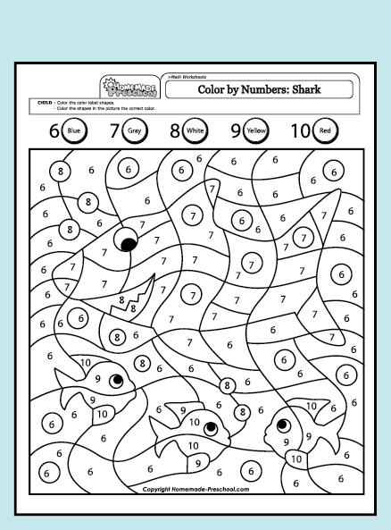 Free Color By Number Worksheets For Kindergarten
