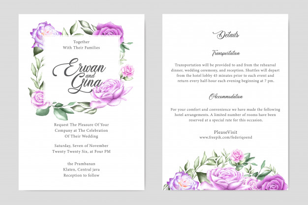 Floral Wedding Invitation Card Template Floral Wedding Invitation Card Floral Wedding Invitations Wedding Invitation Card Template