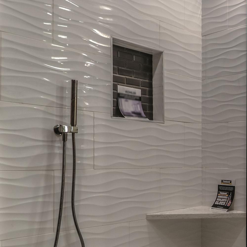 White Wavy Shower Tile Google Search Bathroom Shower Walls Shower Wall Tile Ceramic Tile Bathrooms