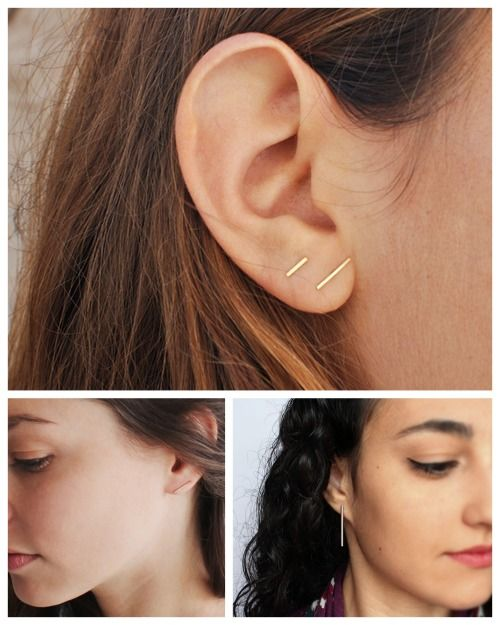 DIY 2 Minimal Bar Earrings Tutorials and Inspiration. Top Photo: Kathleen Whitaker Staple Stud (per stud: Short $45, long $55) here. Bottom Left: DIY Copper Bar Earrings from Almost Makes Perfect. The copper bar piping comes from the hardware store. Bottom Right: DIY Minimal Bar Earrings Tutorial from Curly Made. This DIY is made from tube beads.