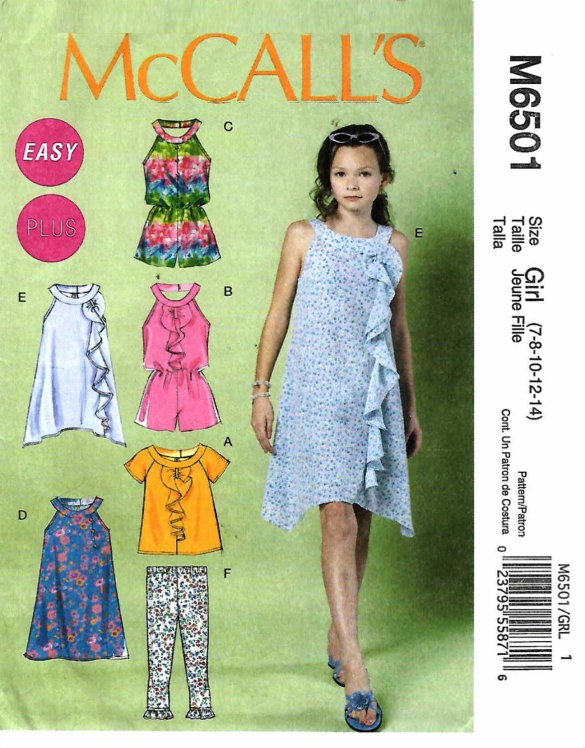 ded3152dcc2f McCall s Sewing Pattern 6501 M6501 Girls Sizes 7-14 Easy Dress Top Leggings  Jumpsuit Romper ...