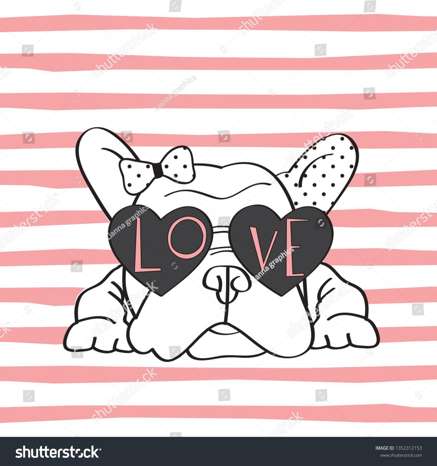 Image vectorielle de stock de Cute French Bulldog Love Sunglasses Vector 1352312153
