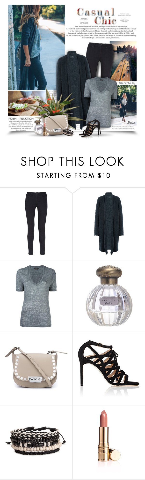 """""""Casual Chic"""" by thewondersoffashion ❤ liked on Polyvore featuring Burberry, Zadig & Voltaire, Isabel Marant, Tocca, ZAC Zac Posen and Manolo Blahnik"""