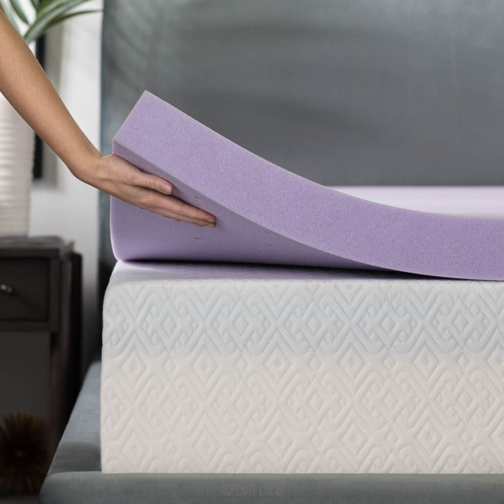 Lucid 2 Inch 5 Zone Lavender Infused Memory Foam Mattress Topper In 2020 Foam Mattress Topper Mattress Topper Memory Foam Mattress Topper