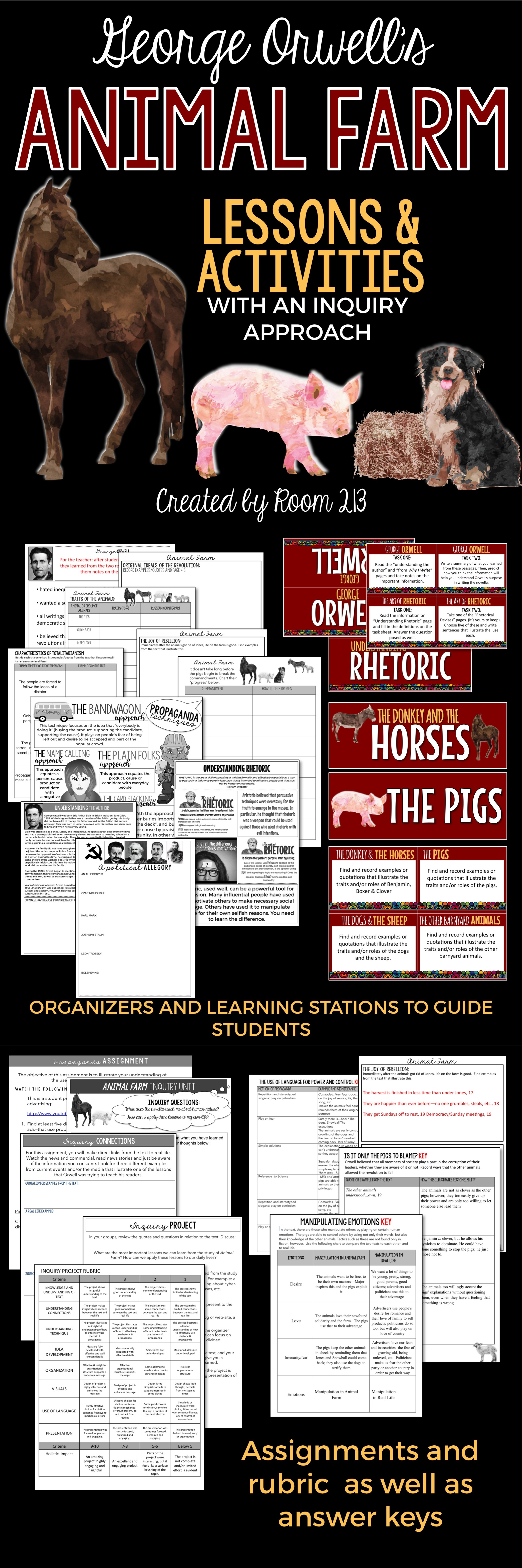 Animal Farm Activities Amp Lessons With An Inquiry Approach