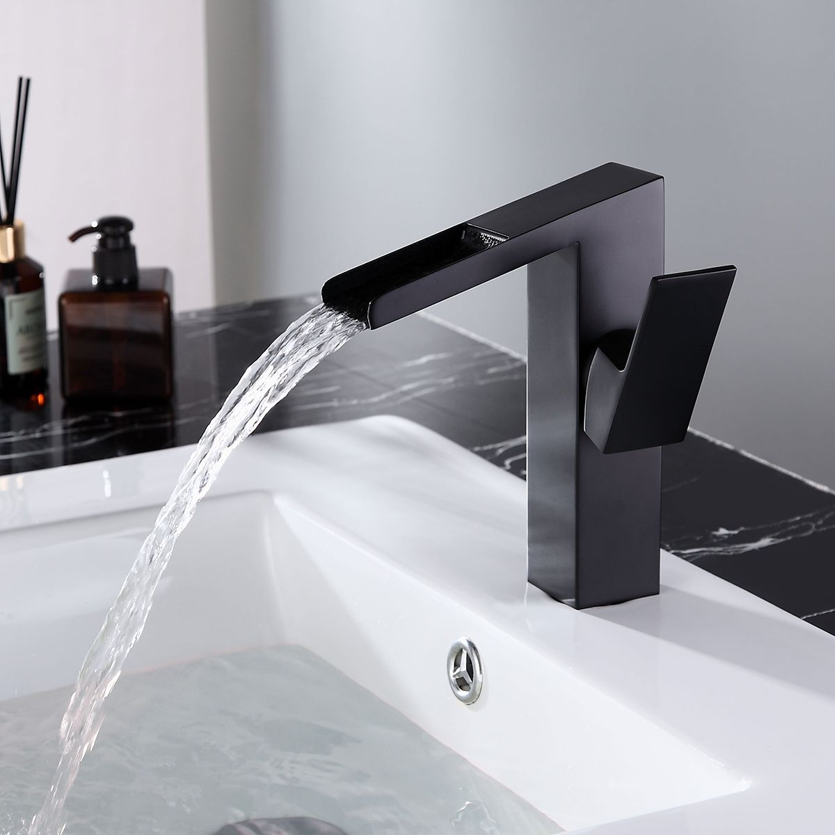 Quad Square Slanted Single Hole 1 Handle Waterfall Faucet Solid Brass For Bathroom Sink In Matte Black Faucet Design Waterfall Faucet Black Bathroom Sink