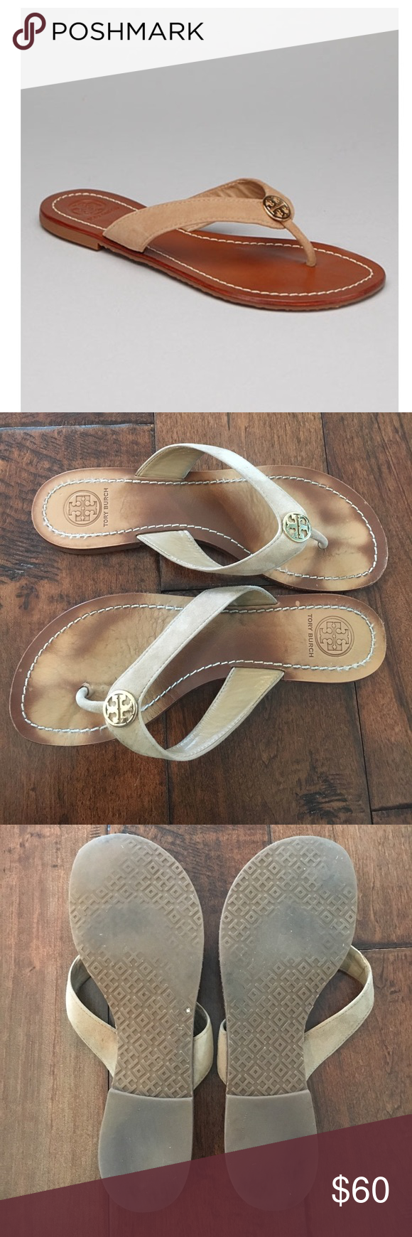 """Tory Burch Thora 2 Beige Suede Thong / Flip Flops Gently Worn with tons of life left!! Golden double """"T"""" medallion adorns the center of suede leather thong strap. Logo-stamped insole. Rubber sole. Comes with the Tory Burch shoe box and storage bag. Smoke and Pet Free home. All reasonable offers are welcome! Please make offer through offer button😊 Bundle and save $$$ Tory Burch Shoes Sandals"""