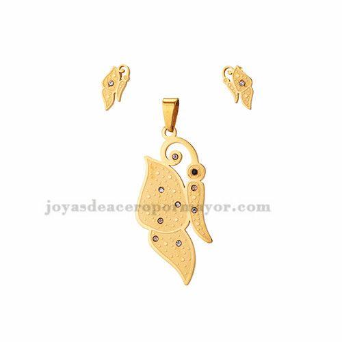 juego de dije y aretes de mariposa de dorado en acero-SSSTG1073805