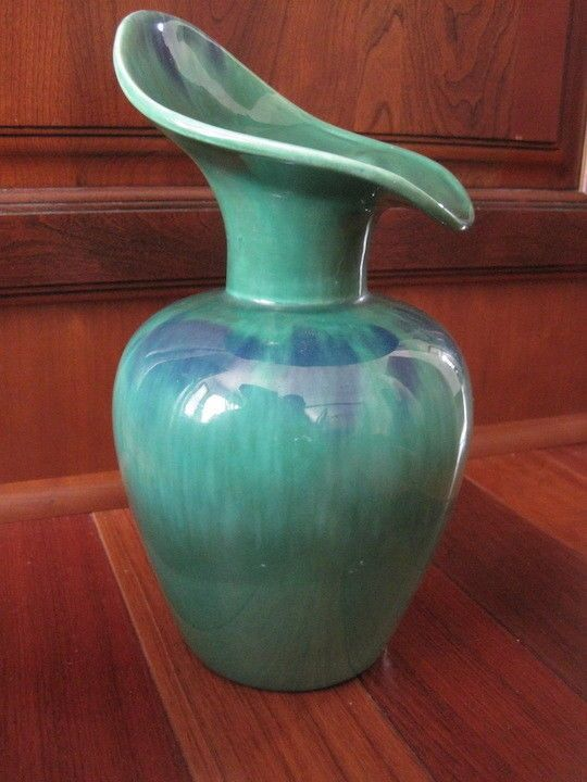 Vintage Royal Haeger Vase Peacock Glaze Green Blue 430h Usa Drip
