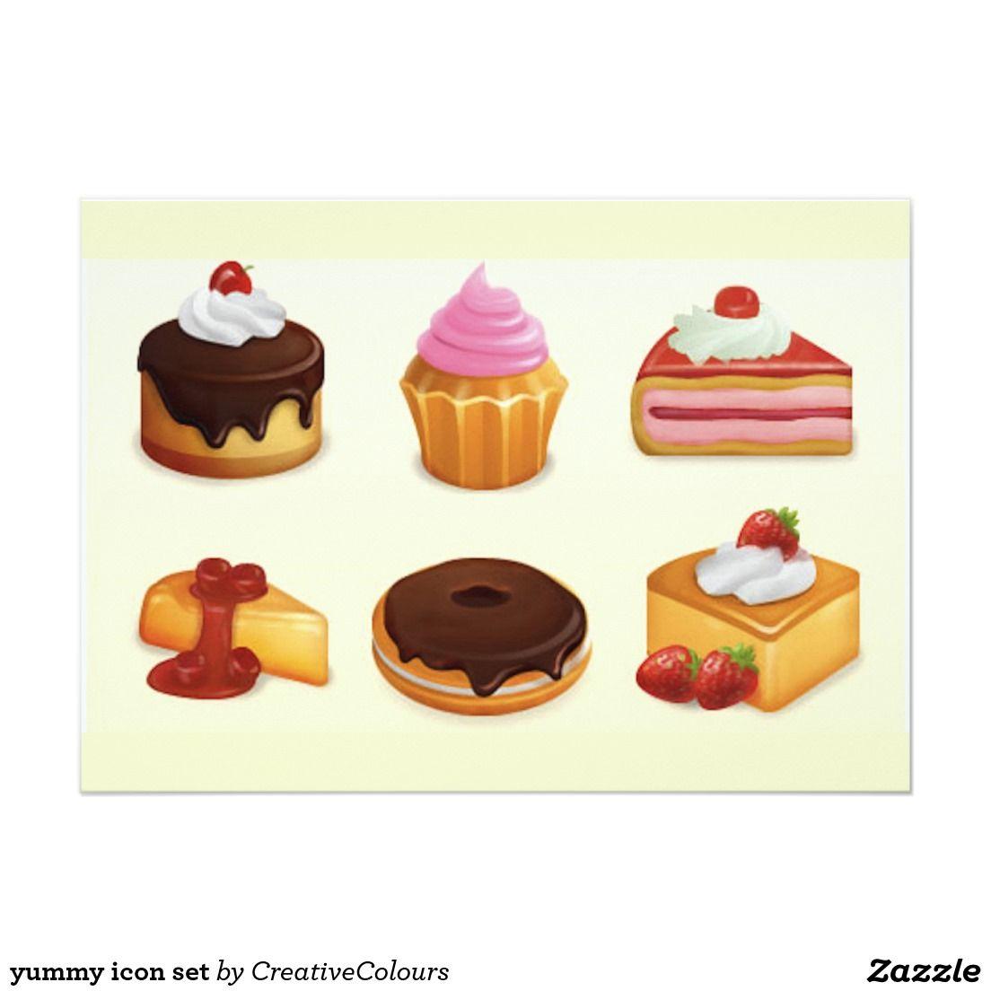 yummy icon set 13 cm x 18 cm invitation card