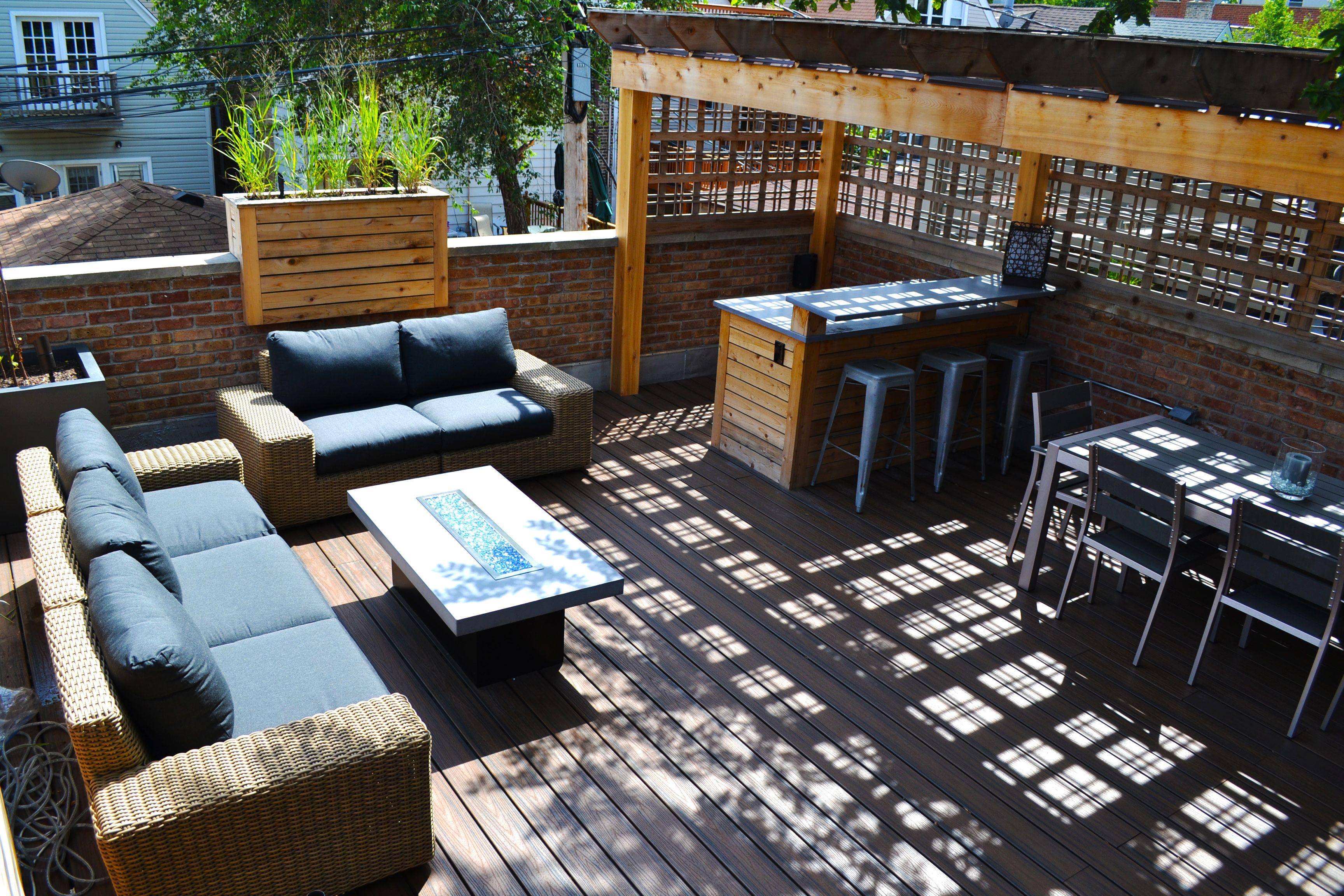 Chicago Roof Deck Built Garage Roof Deck With Cedar
