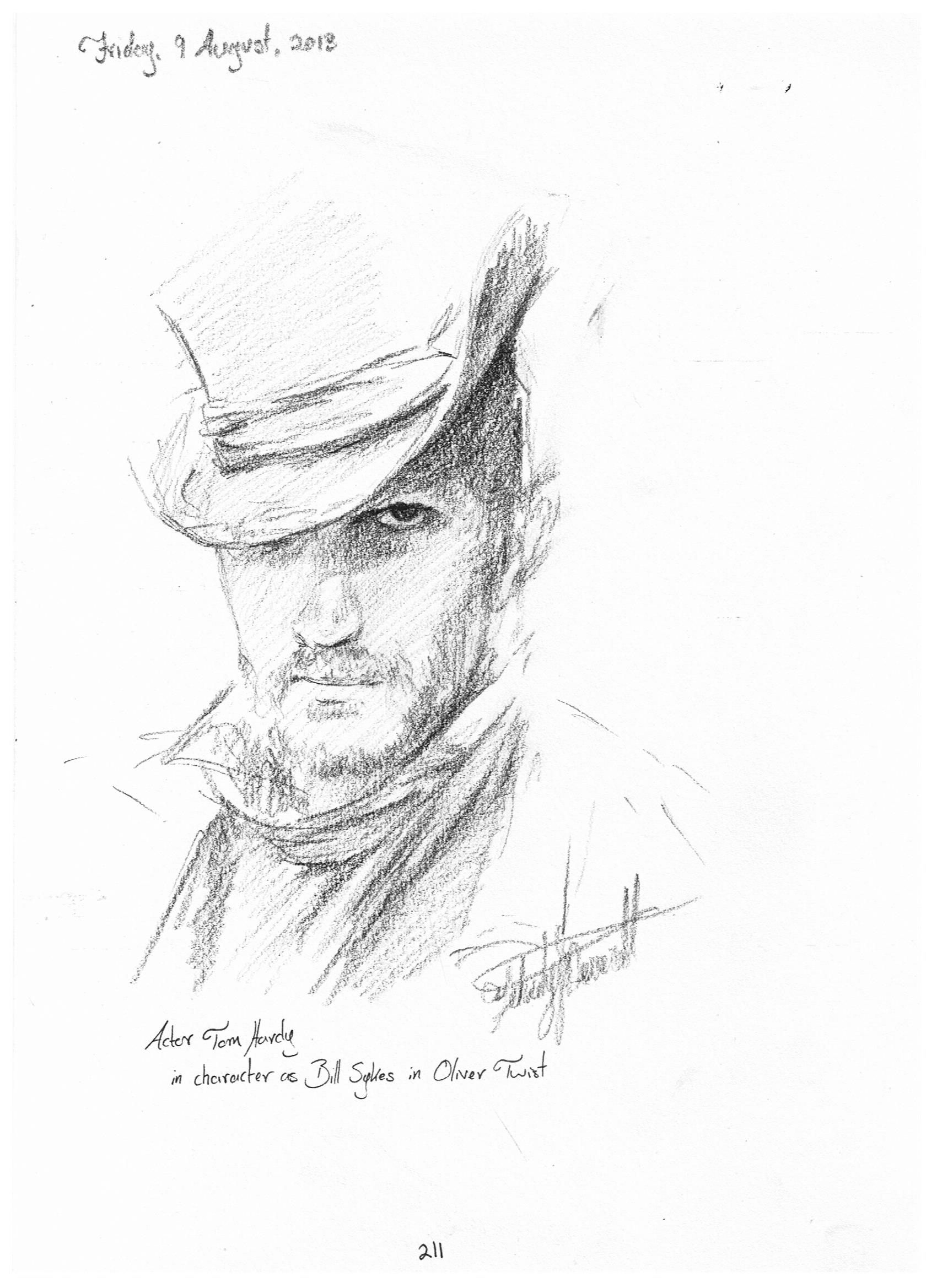 drawing of oliver twist character bill sykes played by tom drawing of oliver twist character bill sykes played by tom hardy