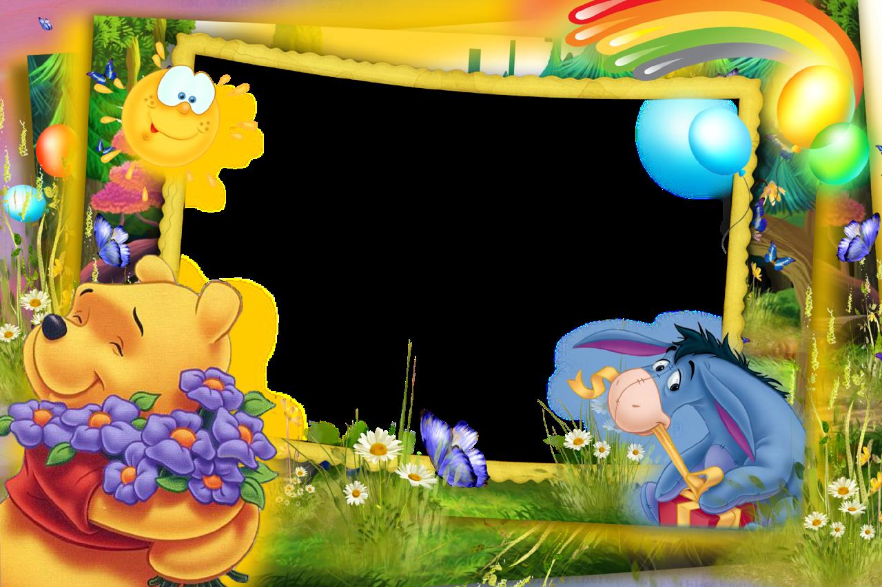 Transparent Kids Png Frame With Kanga Winnie The Pooh: Photo-Frame-Rainbow-Childhood.png (1280×853)