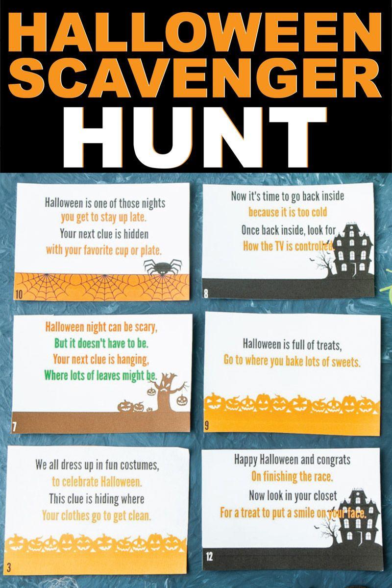 Free Printable Halloween Scavenger Hunt Halloween