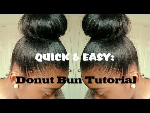 Hair Tutorial High Bun For Relaxed Hair Quick And Easy Relaxed Hair Natural Hair Styles For Black Women Hair Bun Tutorial