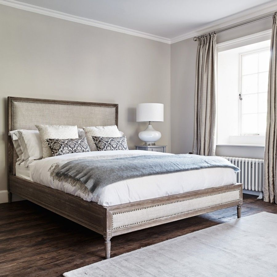 Boston super king size bed in naturel linen bedroom