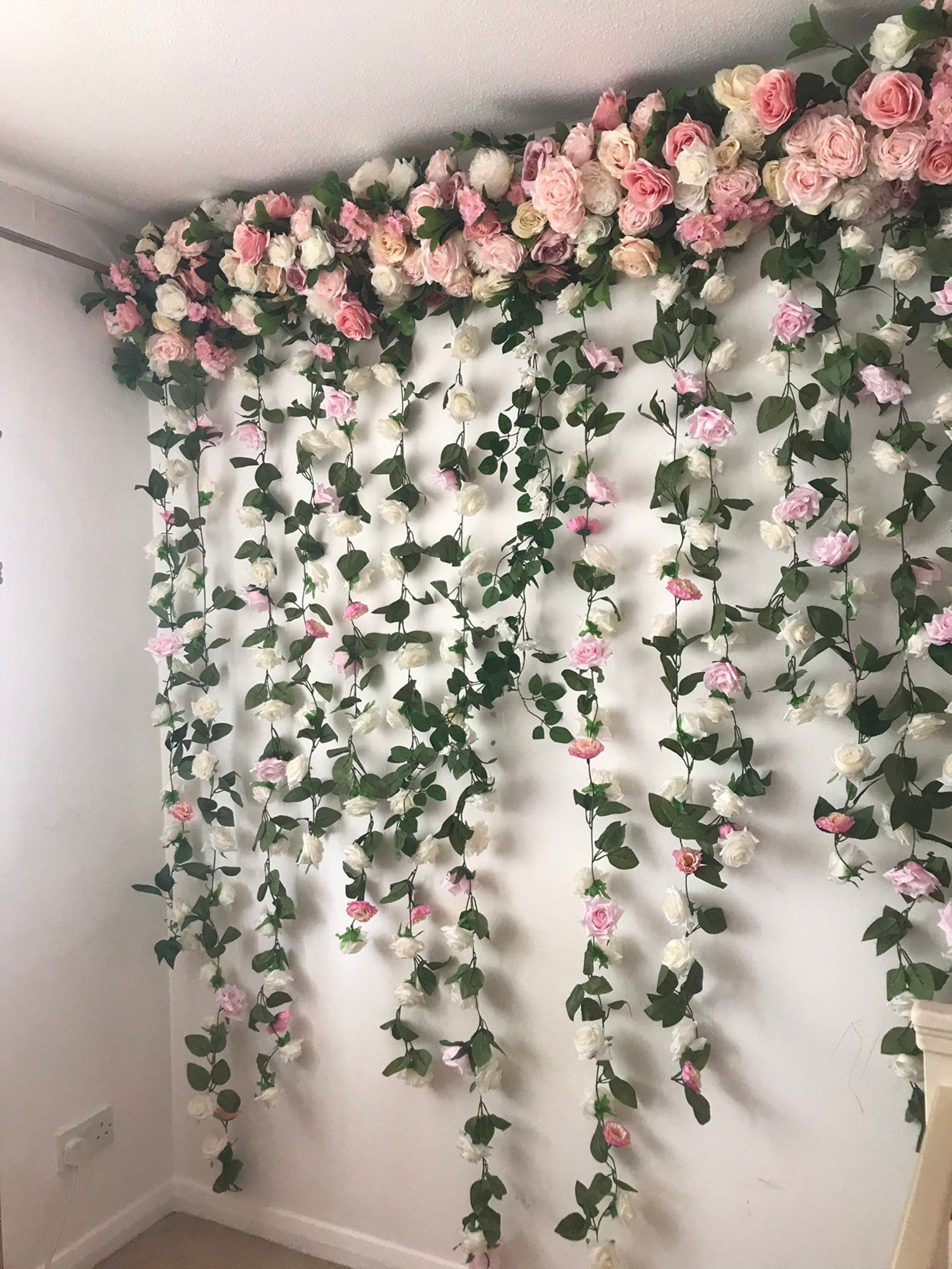 Flower Garland Flower Wall Floral Garland Wedding Wall Etsy In 2020 Flower Wall Backdrop Wedding Wall Wall Backdrops