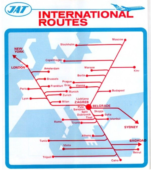 Jat Yugoslav Airlines Timetable Retronaut Route Map Transit Map Vintage Photos