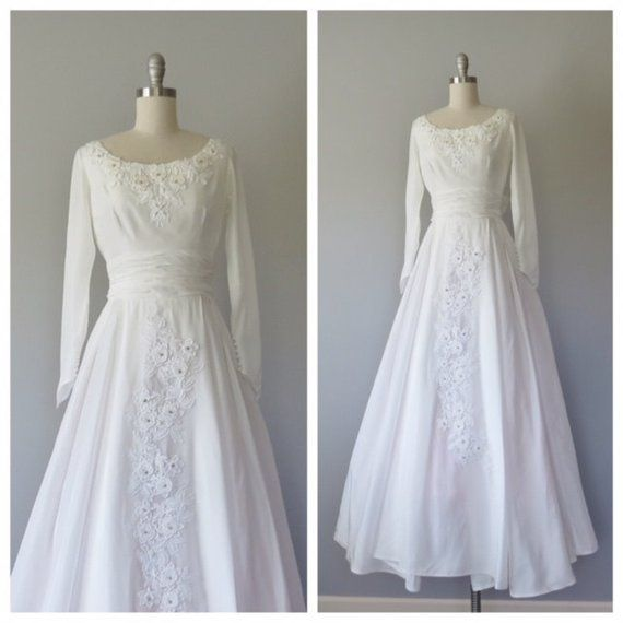 Vintage Wedding Dress Xs: 50s Wedding Gown Size XS / Vintage Wedding Gown