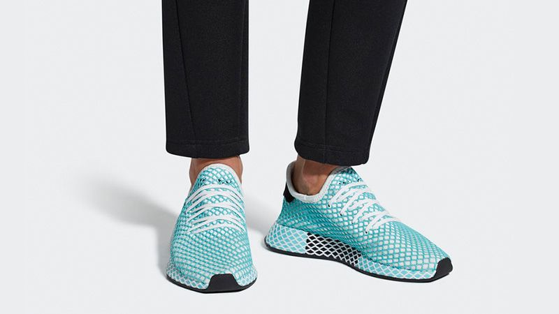 3193bdb429c adidas Deerupt Runner Parley Shoes - CQ2908 - blue shoe on feet.