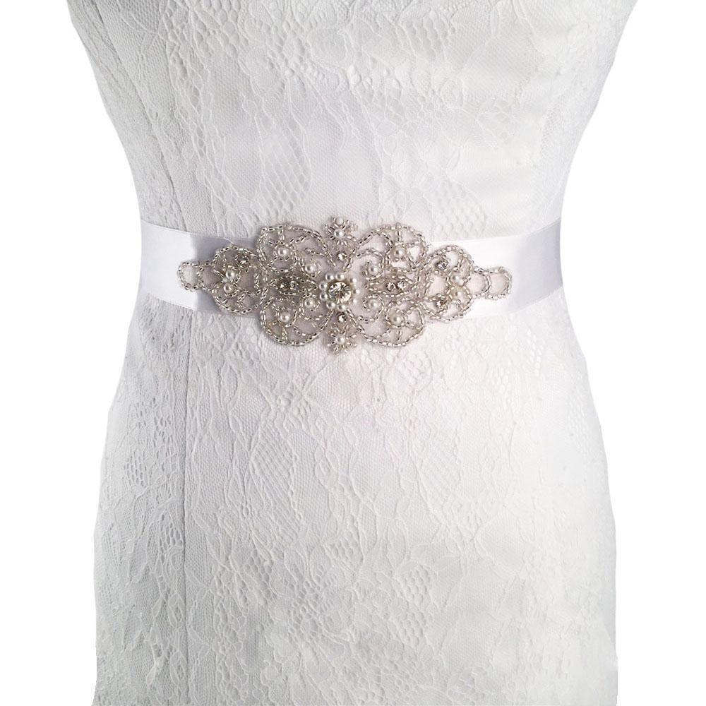 Rhinestone wedding dresses  Crystal Wedding Sash Rhinestone Bridal Belt Bead Bridal Sash Ribbon