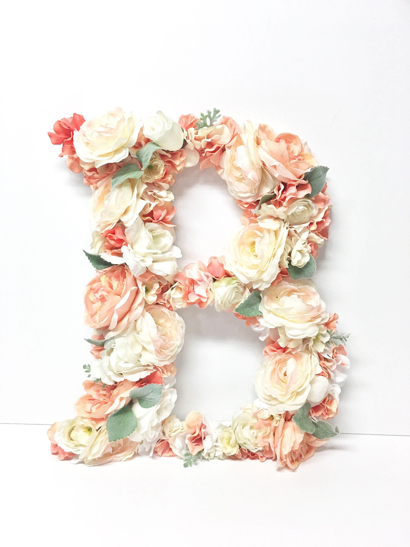 18 Inch Floral Monogram Letter Initial Wedding Door Wreath Etsy With Images Wedding Door Wreaths Floral Monogram Letter Wedding Doors
