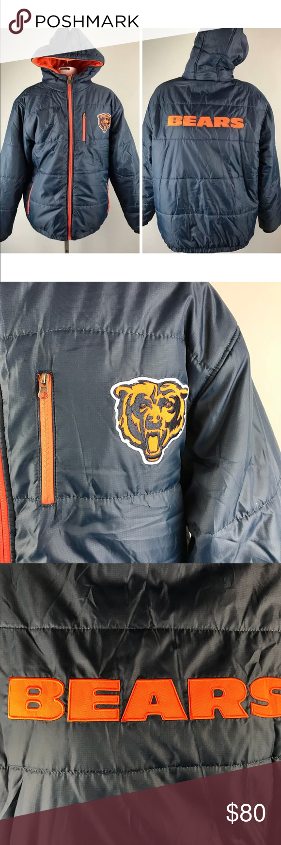 a78ad59c Chicago Bears Coat 2-in-1 NFL Winter Jacket Hood Chicago Bears Mens ...