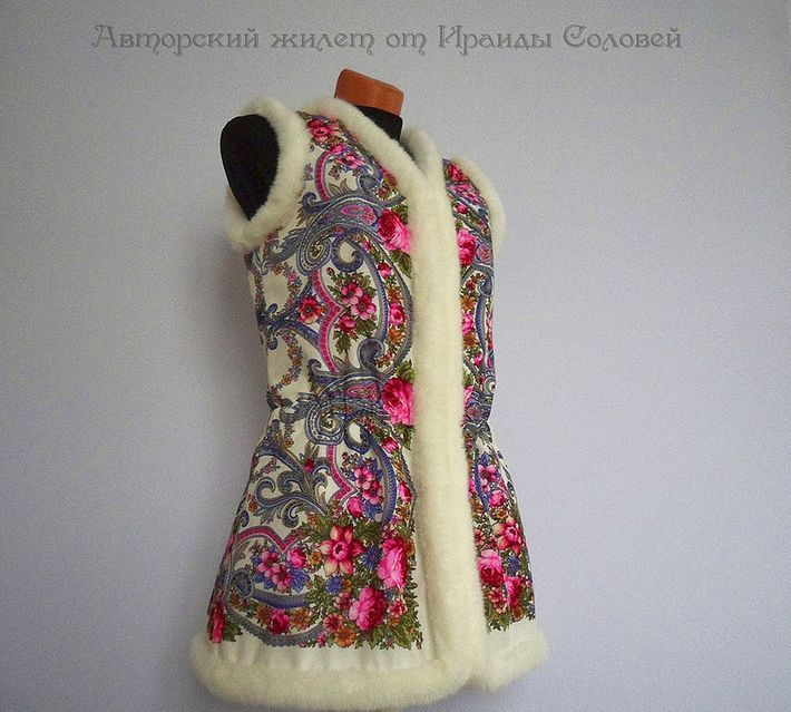Удлиннный жилет Милый друг из Павлопосадского платка