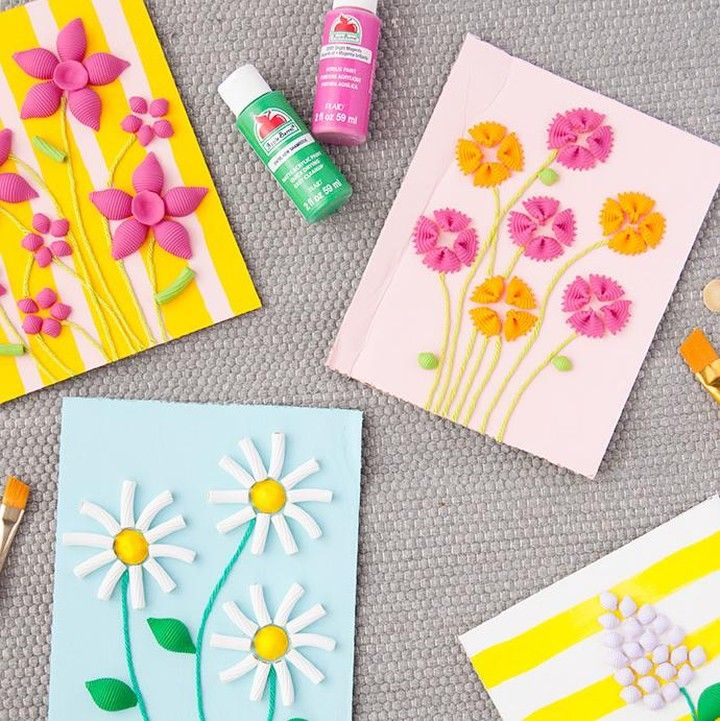 Looking for a fun and easy project Mother's Day project? This one is easy enough for kids to do solo, or for you to work on with them! There are many different flowers you can make using pasta noodles and paint. You're guaranteed to have fun making your very own pasta bloom bouquets with your kids. Visit @handmadecharlotte for more fun projects  #mothersdaycrafts #plaidcrafts #applebarrelcrafts #pastacrafts #kidscrafts