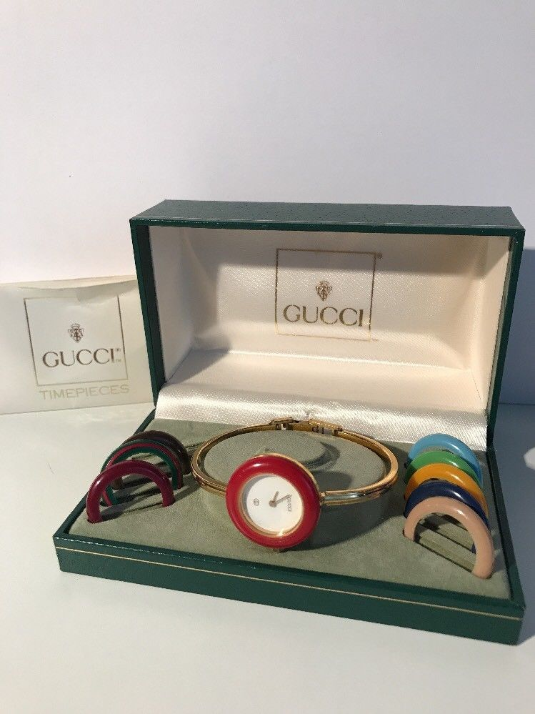 57328957c5b6b GUCCI Vintage 1100 L Gold Plated Interchangeable Watch Auth Vtg ...