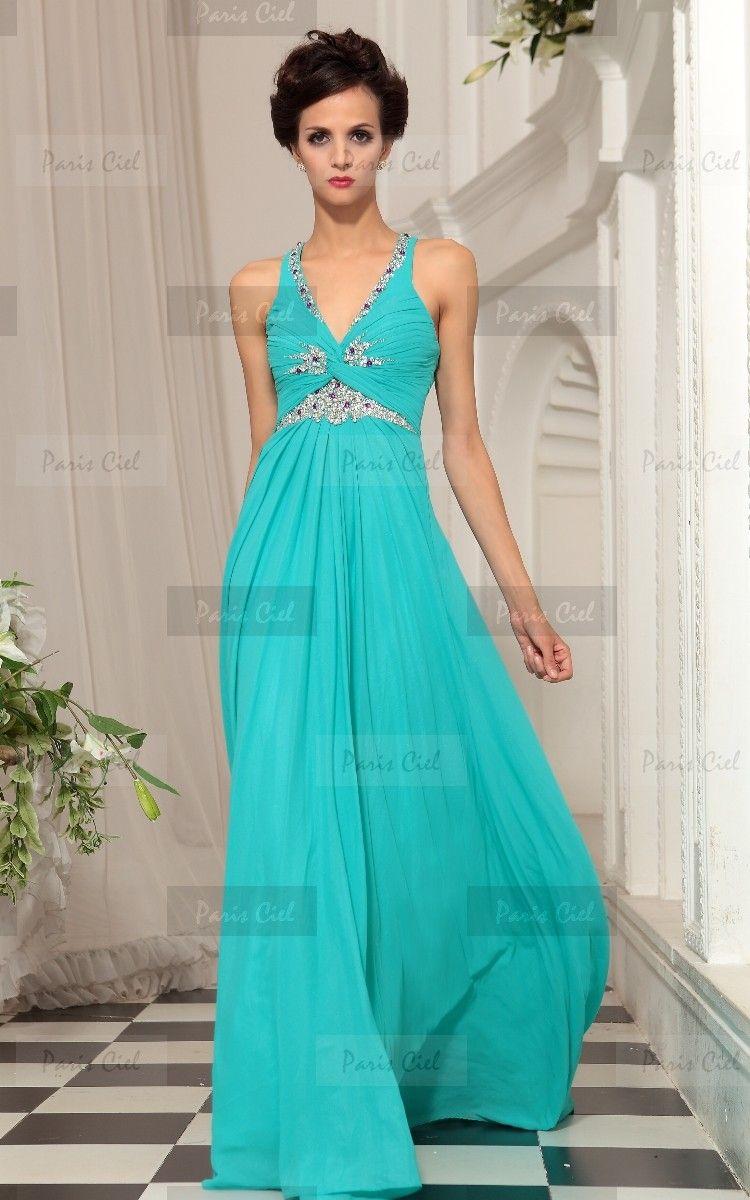 Vestidos largos azul jade
