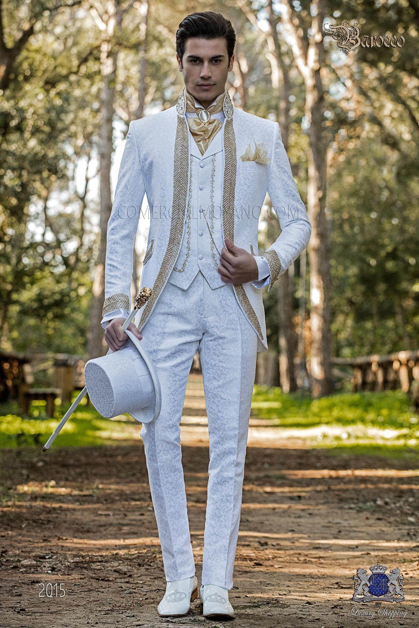 Barocke Hochzeitsanzug, Vintage Gehrock in weißem Blumenbrokat, Mao ...