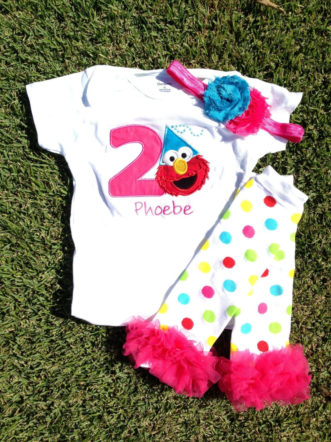 Pink And Turquoise Elmo Birthday Outfit 1st 2nd By CEBowtique 2600