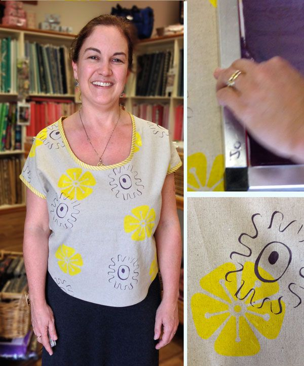 Fantastic screen printed top created in Saffron Craig 2 day Workshop fabric design and Sewing in Berry 2013